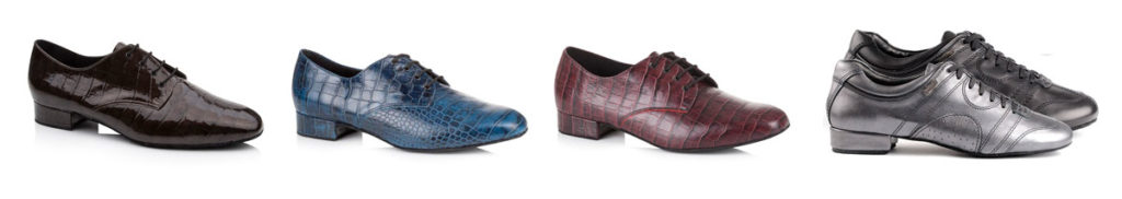 Four different styles of mens dance shoes, in brown, blue, burgundy, black, and pewter,