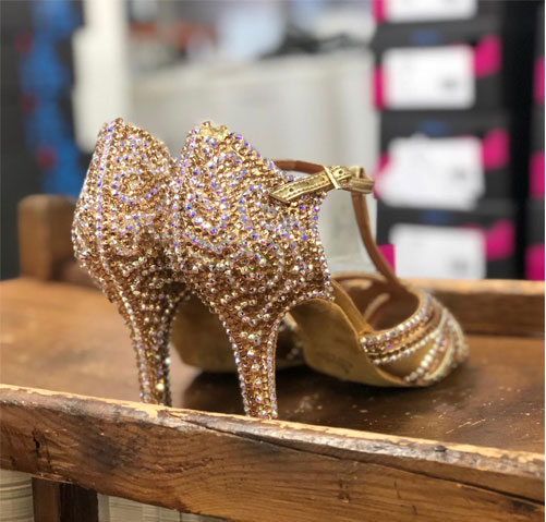 Ballroom dance shoes with res soles and glitter soles